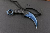 Wholesale fixed karambit knives online - 4 Styles Karambit Claw Tactical Fan EDC Knives CR15MOV Steel Blade ABS Handle Outdoor Camping Tools Fixed Gift Knives With Sheath P183F R