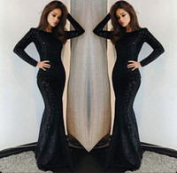 Wholesale crow art for sale - Group buy 2019 Black Long Sleeves Sequins Mermaid Prom Dresses Crew Neck Sweep Train Formal Party Evening Dresses BC0376