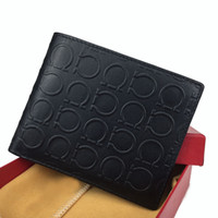 Wholesale christmas gift bags free shipping resale online - 2019 men s leather luxury wallet casual short designer card bag fashion wallet men s wallet with gift box