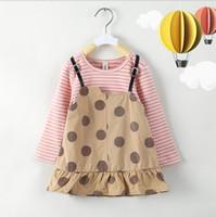 Wholesale baby red tshirt for sale - Group buy Baby Girls False two piece Dress Summer Short Sleeve Cotton O Neck Tshirt Dress Infant Toddler Cartoon Polka Dot Princess Dresses