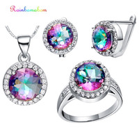 Wholesale mystic jewelry for sale - Group buy Rainbamabom Sterling Silver Mystic Rainbow Topaz Gemstone Earrings Ring Necklace Women Cocktail Jewelry Set Gift