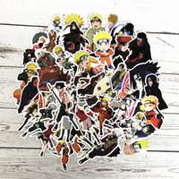 refrigerador de vinilo al por mayor-63 Unids / lote japón anime Naruto sasuke de Dibujos Animados Para Snowboard Laptop Equipaje Frigorífico Car-Styling Vinyl Decal Home Decor Pegatinas
