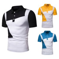 Wholesale blue yellow polo shirt for sale - New Men Polo Shirt Spliced Male Polo Shirts Turn Down Collar Shirts Man Short Sleeve Size S XL