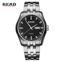 белый цвет часы мужчины оптовых-READ 2019 top  new stainless steel Business Automatic men's wrist watches mechanical week date silver with white color 8021