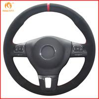 Wholesale vw car parts for sale - Group buy MEWANT Black Suede Car Steering Wheel Cover for VW Gol Tiguan Passat B7 Passat CC Touran Jetta Accessories Parts