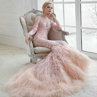 Wholesale wedding sweep tiered dresses for sale - Group buy Luxury Pink Muslim Wedding Dresses Feather Long Sleeves Lace Applique Trumpet Bridal Gowns Sweep Train Wedding Dress