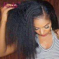 perucas de cabelo liso remy yaki venda por atacado-Kinky Straight Wigs 13X6 Cabelo Humano Perucas Dianteiras do Laço Para As Mulheres Negras perruques de cheveux humains Ruiyu Yaki Peruca Do Laço Perucas Remy Peruanas