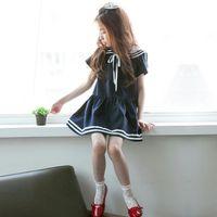mini vestido coreano de una pieza al por mayor-2018 verano nuevo estilo de la muchacha de Corea de manga corta mini vestido del niño marinero cuello de una sola pieza de las muchachas niños de muy buen gusto