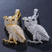 coruja alta venda por atacado-Mens colar de hip hop jóias com zircão gelado out chains Vintage High grade coruja pingente de colar de aço inoxidável jóias atacado