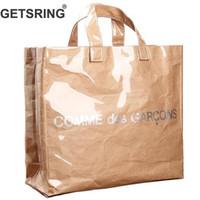 uma sacola de compras venda por atacado-Getsring Mulheres Saco Das Mulheres Bolsas Saco Ocasional Transparente Kraft Papel Totes Carta Mulher Sacos de Moda de Um Ombro Saco de Compras J190715