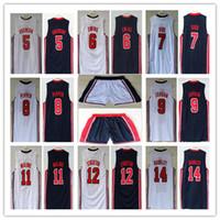 johnson shorts venda por atacado-1992 Dream Team Jersey stockton johnson barkely Robinson Ewing Bird Pippen Drexler Malone Michael Sport Camisas de basquete Harden shorts