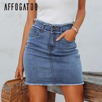 vestidos de noite de verão adulto venda por atacado-Affogatoo Casual zíper verão saia jeans mulheres Tassel cintura alta lápis bodycon mini saia feminino Streetwear jeans curto
