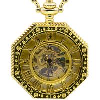 мужская механическая цепочка для часов оптовых-Новая Мода Ручной завод Механические Карманные Часы Цепи Полное Золото Восьмиугольник Форма Скелет Резьба Мужчины Fob Цепные Часы PJX1378