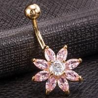 пробивная цепь штанги оптовых-Hot Sale Flower Cubic Zirconia Belly Button Ring Crystal Navel Piercing Bar Barbell Body Piercing Body Chain Jewelry VL