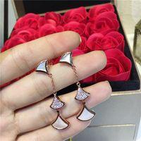 brincos de sonho venda por atacado-Luxo DIVAS Sonho Brincos jóias S925 prata esterlina Natural Branco ágata Brincos de luxo mulheres jóias Frete grátis