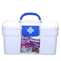 caixas de armazenamento de mídia venda por atacado-Armário de Medicina de tamanho médio, Caixa de Armazenamento de Caixa de Prescrição de Kit de Primeiros Socorros do Agregado Familiar com Compartimentos para Cartões de Cosméticos