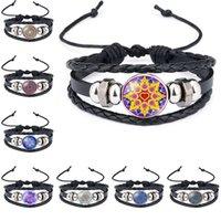 bracelets d'emballage indien achat en gros de-Mandala Bracelet Indian Yoga Buddhismus Verre Cabochon Bracelets Réglable Multicouche Wrap Bracelets Poignets Bijoux De Mode Drop Shipping