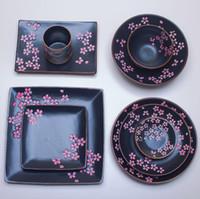louça de cerâmica japonesa venda por atacado-Nova Alta Qualidade Jingdezhen Japonês-estilo talheres de Cerâmica Flor De Cereja Cerâmica Criativa Copos Pratos Hotel Tableware Atacado