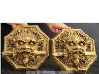 ingrosso leone cinese in bronzo-Spedizione gratuita Cinese Fengshui Bronzo Animale Testa di Leone Spada Porta Battente Pair Statua