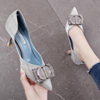 topuk ayakkabıları kız çocukları toptan satış-Current2019 Yüksek topuklu Kız Fransız Çocuk Ayakkabısı Yapay Elmas Kare Keskin Tek Ayakkabı ile Her Ayrıntıya Dikkat Edin