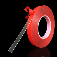 Wholesale red tape double sided resale online - 3m mm Red Transparent Double Sided Tape No Trace High Strength Adhesive PET Sticker For Car Phone Table Tools HHA114