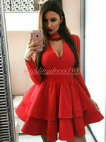 Wholesale sexy long length club dresses for sale - Hot Selling Arabic Satin Homecoming Dresses Tiered Long Sleeve Cheap Party Club Wear Knee Length Cheap A Line Juniors Cocktail Prom Dress