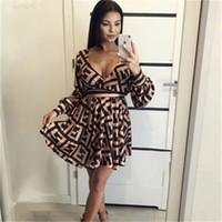 ingrosso vestito dalla stampa del leopardo di lunghezza del pavimento-FF Lettere stampa abiti da donna allentati collo profondo manica lunga abiti vintage estate abito nastro sexy con telai