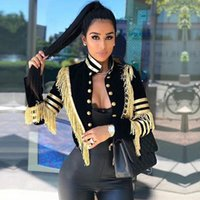 uzun saçak toptan satış-2019 Yeni Bahar Kadınlar İnce Trençkot Seksi Siyah Renk Püskül Fringe Ünlü Parti Mont Uzun Kollu Moda Kulübü Mont