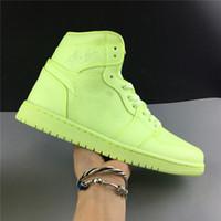 ingrosso scarpe da pallacanestro verde fluorescente-Scarpe da pallacanestro di alta qualità verde fluorescente Scarpe da ginnastica sportive in vera pelle da uomo in carbonio 1S Sneakers sportive 4s 7.5-13