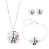 pulseras eiffel al por mayor-Juego de joyas vintage con cristal plateado Cabochon Torre Eiffel en forma de colgante gargantilla collar y pulsera para regalo de mujer