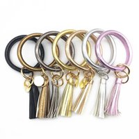 Wholesale wristbands charms for sale - Group buy Tassel Charms Leather Wrap Bracelets Pendant Chain Bangles Keys Ring Wristbands Fashion With White Black Yellow Color by J1