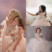 Wholesale pearl appliques for wedding dresses resale online - Lovely Flowers Girls Dresses Lace Appliques Pearls Puffy Kids Little Girl Pageant Gowns Princess Toddlers Birthday Party Dress For Wedding