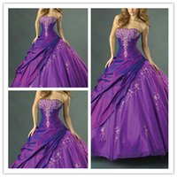 robes de quinceanera pourpre sans bretelles achat en gros de-Purple Prom Dress Lace Appliques Quinceanera Robes Longueur De Plancher Elegante Robes De Soirée De Soirée 2019 Bretelles Ruched Side Sweet 16 Robe