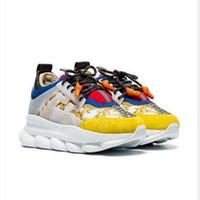 cadenas de caja para hombre al por mayor-2019 versace chain reaction designer shoes Love Sneakers Mujer Hombre Triple Negro Ligero en Relieve Único Diseñador de Lujo Zapatos Casuales con Bolsa de Dust Box