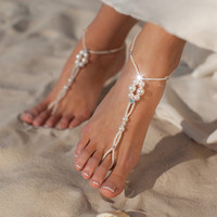 Wholesale sexy ankle feet jewelry resale online - Bohemia Multi Layer Imitation Peal Pendant Anklet For Women Foot Chain Long Beach Leg Bracelet Charm Sexy Ankles Jewelry