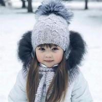 ingrosso ragazzo di moda bambino beanie-Moda Bambini Bambini Mohair Berretto lavorato a maglia con pompon Baby Girl Boy Inverno Cappelli morbidi per esterni Berretti caldi all'uncinetto T440
