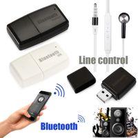 auto-audio-system usb großhandel-Mini 3,5 mm AUX Wireless Bluetooth Car Kit USB Stereo Musik Audio Receiver Adapter für PC Android für IOS System Freies Verschiffen