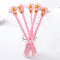 pluma rosa kawaii al por mayor-1 Unidades de Dibujos Animados Kawaii Material Escolar Oficina Papelería Pluma de Gel Manijas Creativo Lindo Regalo Estrella Encantadora Pink Wings