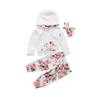 Wholesale girls sleeveless hoodies for sale - Group buy Newborn kids baby girls spring sweatshirt hoodies floral pants headband outfit set children clothes outfit