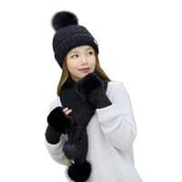 Wholesale knit mittens women resale online - Hat Scarf Gloves Piece Set Women Winter Thicken Knitting Warm Snow Ski Cap Mitten Fashion Soft Pompoms Beanie Female Scarves