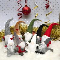 Wholesale santa claus plush doll resale online - Swedish Christmas Love Heart Santa Claus Long Hat Plush Doll for Home Decor Collectible Dolls Desktop Ornament