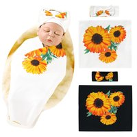 Wholesale bedding sets sunflowers for sale - Group buy Black Baby Blanket Swaddling Newborn Thermal Soft Bedding Set Cotton Quilt Sunflower Floral Baby Swaddle Blanket with Headband