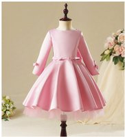 Wholesale chiffon communion dresses for sale - Group buy Pink Lace Girl Dress Kids Girl Party Princess Gowns Long Sleeve Flower Girl Dresses for Wedding kids First Communion Gown