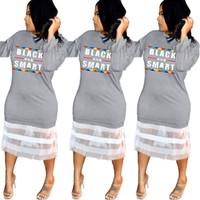 camisa preta mangas compridas venda por atacado-Carta de Impressão de Manga Longa Vestido Mulheres net malha de renda Preto Vestidos Inteligentes Night Club Party patchwork T-Shirt Saia 5 pcs LJJA2288
