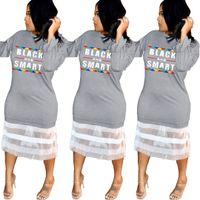 ingrosso vestito lungo dalla maglia nera dei manicotti-Gonna a maniche lunghe con stampa a rete da donna in pizzo a rete netto Abiti eleganti neri T-Shirt con patchwork da party night club 5 pezzi LJJA2288