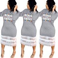 camisa de manga larga de malla negra al por mayor-Vestido de manga larga con estampado de letras Mujeres malla de encaje negro Vestidos elegantes negros Club nocturno Fiesta patchwork Camiseta Falda 5 piezas LJJA2288