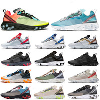 running shoes blue al por mayor-nike Epic React Element 87 UNDERCOVER Mens Running Shoes Sail Anthracite Thunder Blue Midnight Navy Green Mist Mujer Deportes Zapatillas 36-45