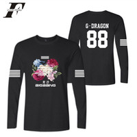 camiseta larga bigbang al por mayor-BIGBANG kpop flor de la moda impresa hip hop cuello redondo mujeres hombres camisetas casual camiseta de manga larga camiseta tops
