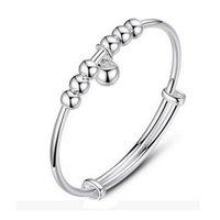 sinos de prata redondos venda por atacado-Mulheres Cuff Feminino Coreano Pulseira De Prata Sinos Rodada Beads Jóias de Prata presente para amigos colega de família