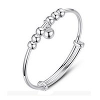 круглые серебряные колокольчики оптовых-Women Cuff Female Korean Silver Bracelet Bells Round  Silver Jewelry gift for friends family colleague